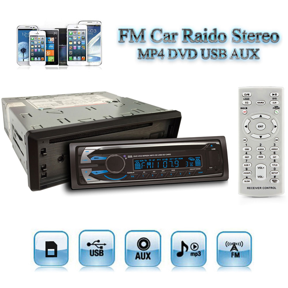12V Auto Car Radio Stereo Audio Player FM MP3 MP5 DVD CD SD USB AUX with