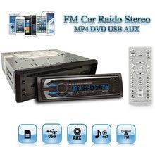 12 V Auto Car Radio Estéreo Reproductor de Audio FM MP3 MP5 DVD CD SD USB AUX con 7 Luces de Fondo/Clock + Control Remoto