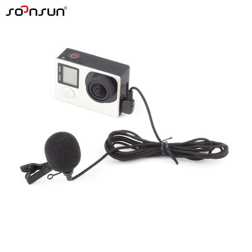 soonsun high quality mini usb external microphone with collar clip on mic for gopro hero 4 3 3. Black Bedroom Furniture Sets. Home Design Ideas