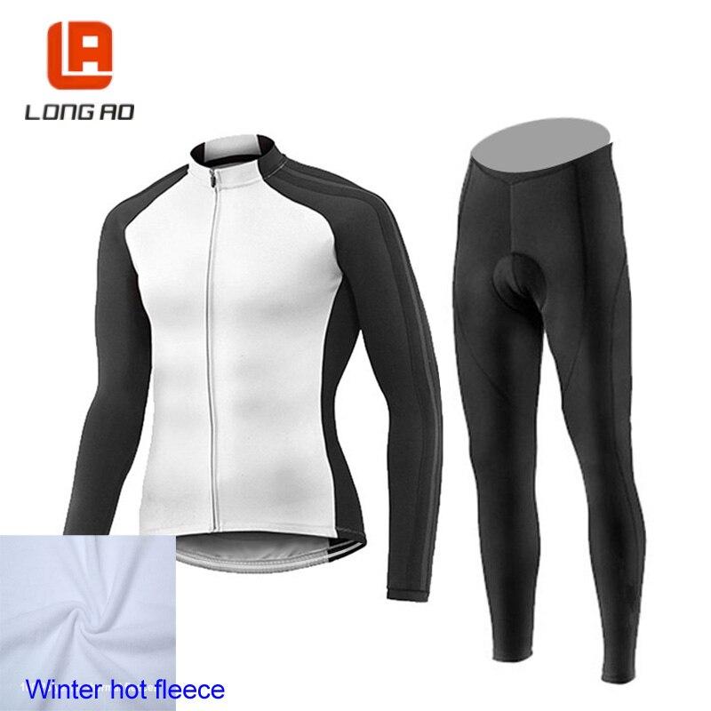 Winter fleece Cycling set men Cycling jersey Long sleeve bike Thrasher clothing Roupa ciclismo Traje de