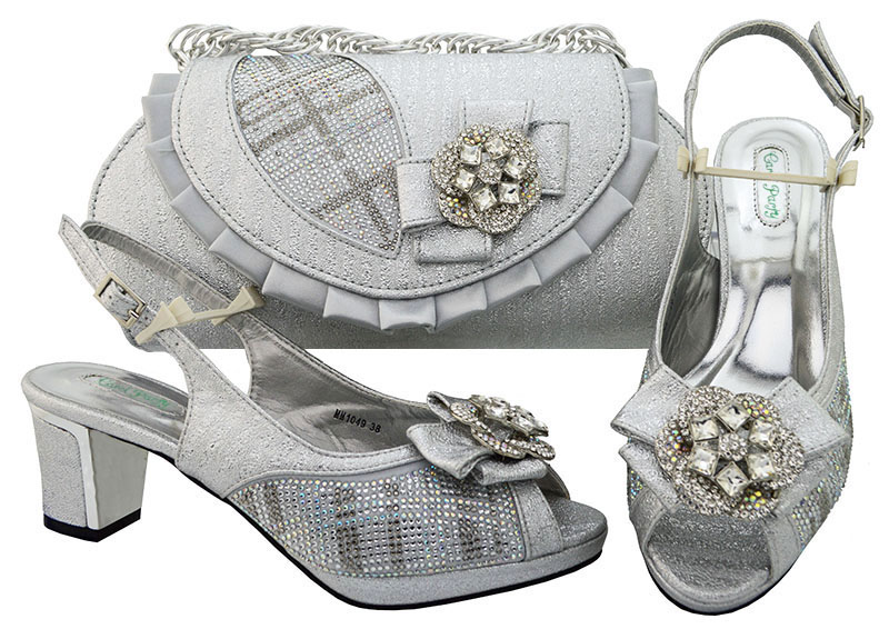 Latest African Shoes And Matching Sliver Color Matching Bags In Women Combining Italian Shoes And Bag Set High heel MM1049 aidocrystal luxury handmade crystal sunflower high heel women italian shoes with matching bags