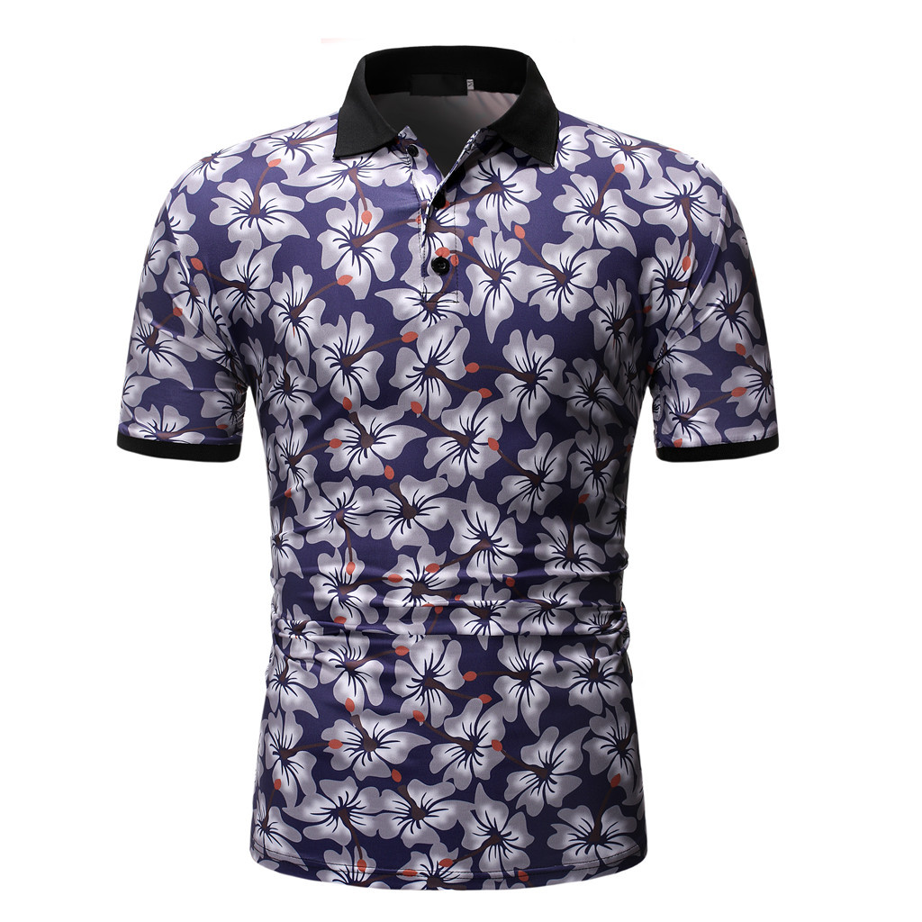 Fashion Flower Print   Polo   Shirt Men Black White Short Sleeve   Polo   Man Summer Casual Ice Silk   Polos   Para Hombre   Polo