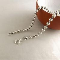 Plata maciza 925 Dia 3mm Cadena de Cuentas De Collar de Hombres Mujeres 100% 925 Joyas de Plata Accesorio 45/50/55/60/65/70/75 cm