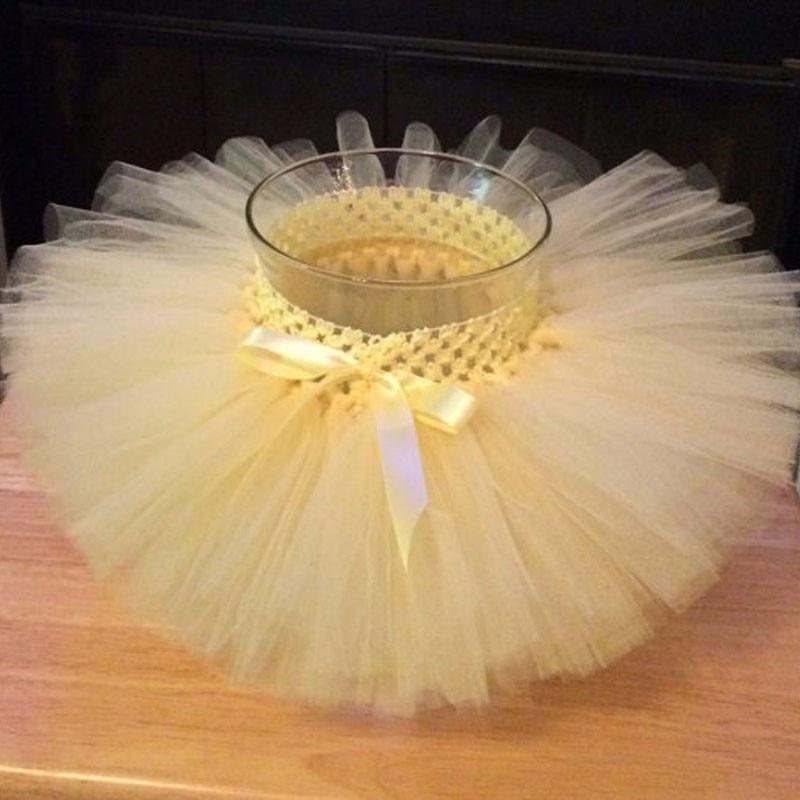 2017 Baby Girls Crochet Tutu Skirt Infant Solid Color Handmade Fluffy Tulle Pettiskirt with Ribbon Bow Kids Birthday Party Tutus