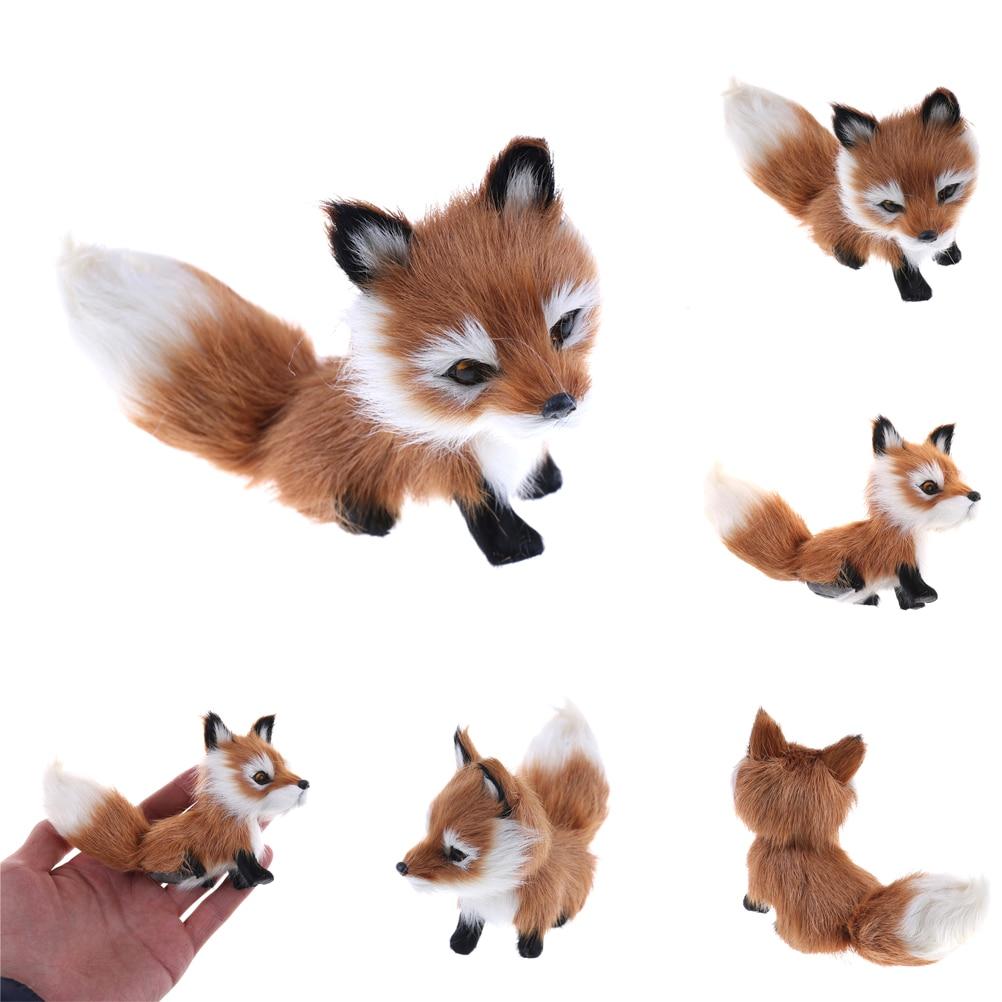 1pcs Small Cute Simulation Fox Toy Mini Squatting Fox Model Home Decoration Wedding Birthday Gift Stuffed Plush Toys