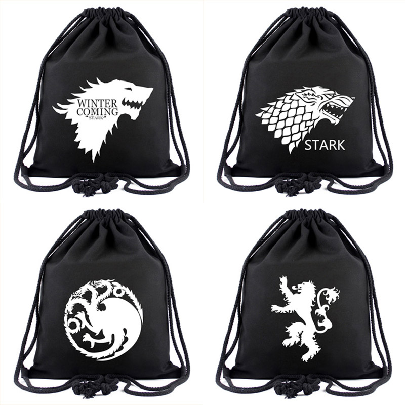 TV Series Game of Thrones Drawstring Backpack Cool Black Gravity Falls Anime Casual Bag Fashion Portable Bag for Gift     TV Series Game of Thrones Drawstring Backpack Cool Black Gravity Falls Anime Casual Bag Fashion Portable Bag for Gift