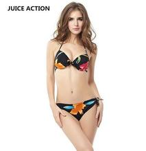 JUICE ACTION Womens Summer plus size Halter Flower Bikini Stylish Black Swimwear Swimsuit Wear