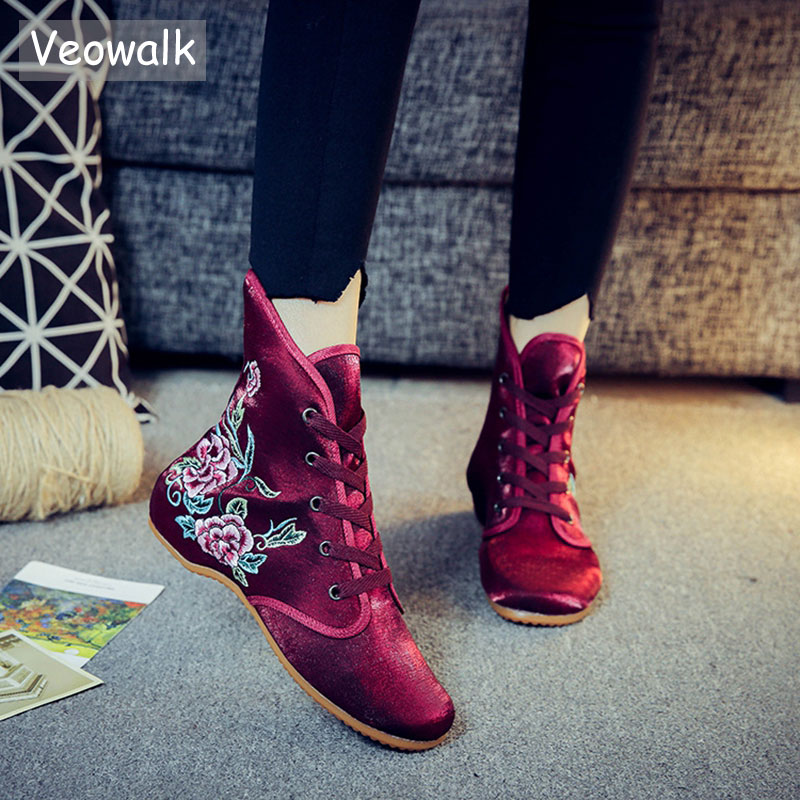 Veowalk Flower Embroidered Women's Cotton Fabric Ankle Boots Lace-up Low Heels Ladies Casual Short Booties Shoes Boats Mujer