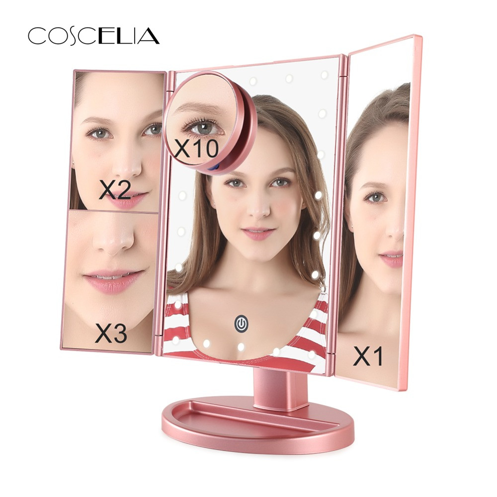 Foldable LED Professional Lighted Makeup Mirrors With Adjustable LED Light 22 Touch Screen Mirrors For Beauty Makeup 3 Colors