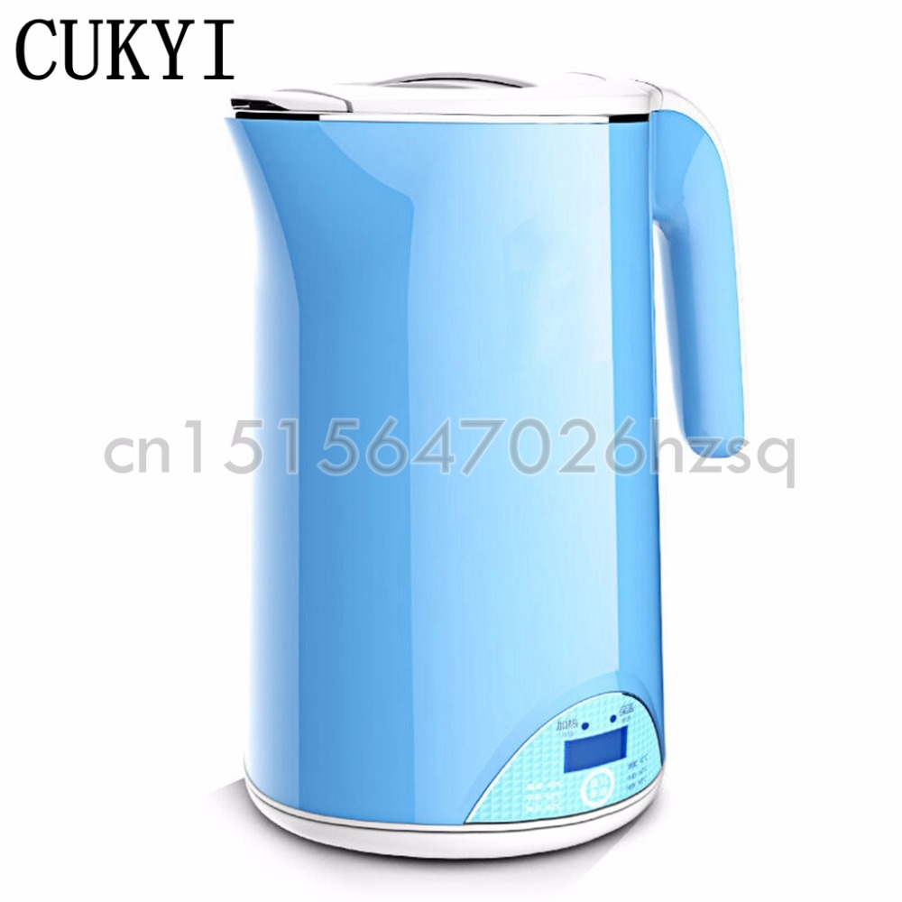 CUKYI thermal insulation electric kettle Stainless Steel liner electric Water Kettle 1.7 Quart temperature insulation thermostat temperature control kettle top base set socket electric kettle parts