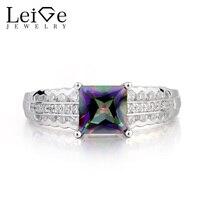 Украшения leige Rainbow Topaz кольцо из голубого топаза lasamero кольцо с мистическим топазом Принцесса Cut переливающийся драгоценный камень 925 серебро