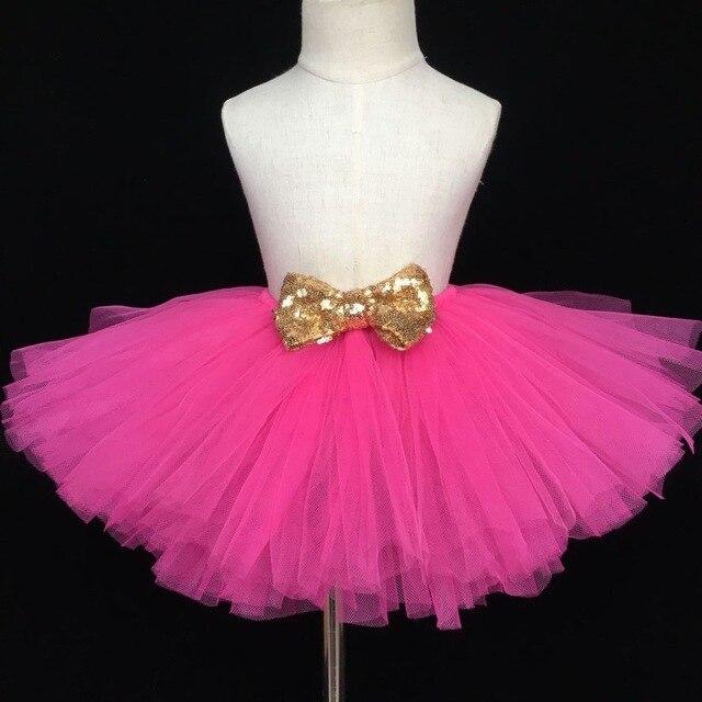 ff4f42c84 € 4.88 10% de DESCUENTO|Falda tutú rosa para niñas, falda de tul mullida  para niños, faldas de baile de Ballet con lentejuelas doradas, falda de ...