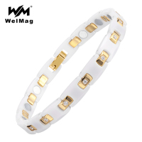 WelMag Ceramic Bracelet Magnetic Bangle Health Chain Charms Women Jewelry Bio Elements Energy Fashion White Ceramic