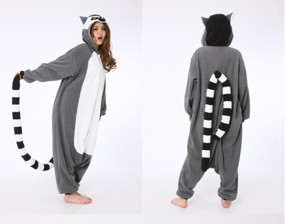 38dc71b60589 Novelty Animal Lemur Long Tail Monkey Adult Onesie Unisex Women Men s  Pajamas Halloween Christmas Party Costumes-in Anime Costumes from Novelty    Special ...