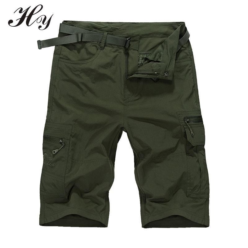 Breathable Short Quick Dry Cargo Shorts Thin Knee Pantalon Treking Military Camping Tactical Shorts Trousers Plus