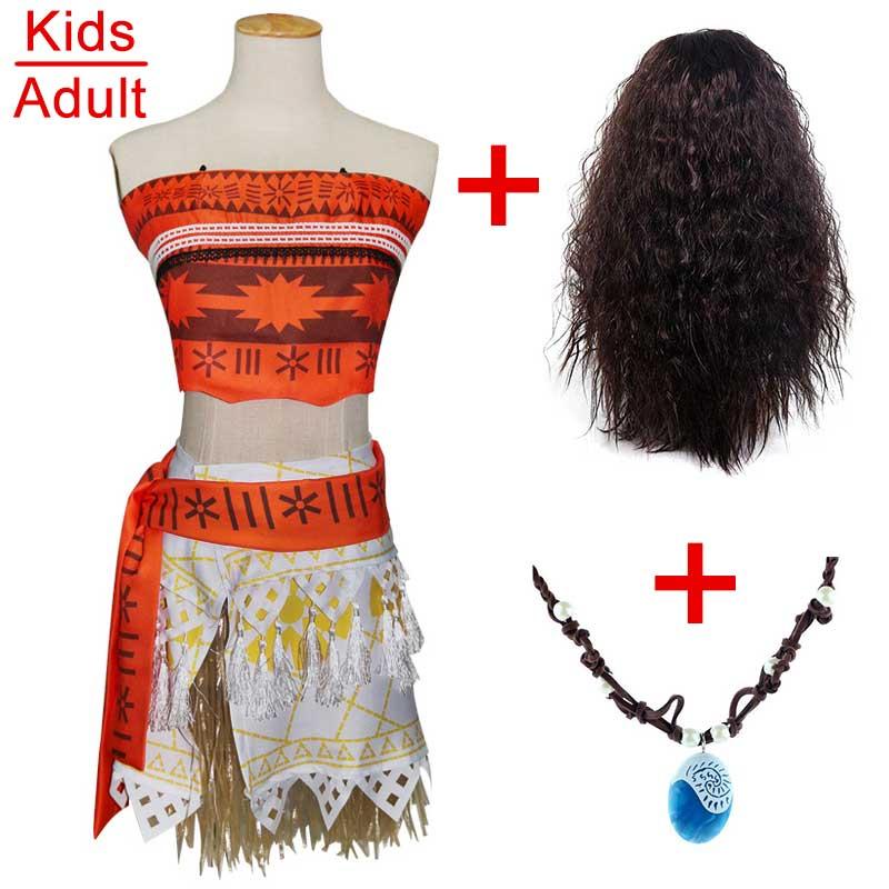 Для взрослых и детей принцессы Vaiana Моана костюм платья с Цепочки и ожерелья парик Для женщин на Хэллоуин для девочек вечерние Моана платье костюмы Косплэй