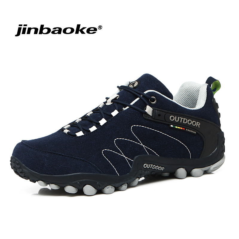 JIBAOKE outdoor mountain trekking shoes Men Women hiking shoes Waterproof leather climbing shoes outdoor sports shoes 2017 new men hiking shoes non slip waterproof women trek climbing shoes outdoor breathable mountain trial lover trekking shoes