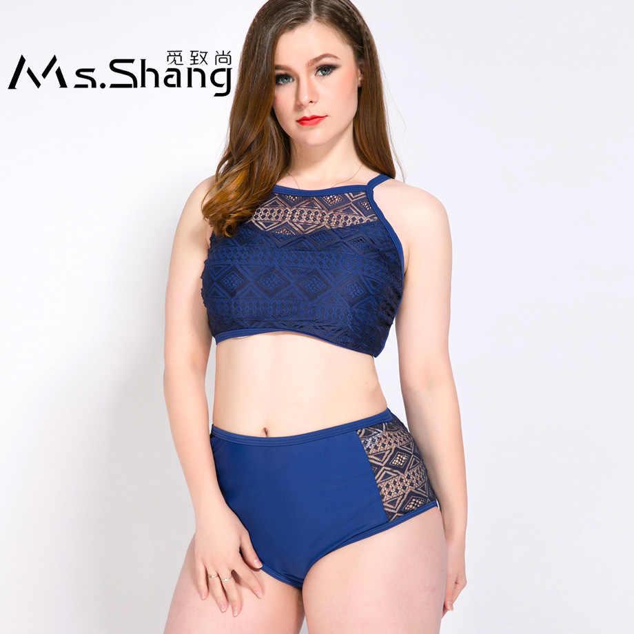 aa3857ded489e Ms.Shang High Waist Bikini Women Swimsuit Push Up Swimwear Female Plus Size  Swimwear Mesh