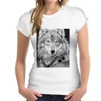 FORUDESIGNS Summer Women Casual T Shirt 3D Wolf Woman Tops O Neck Short Sleeved Female T