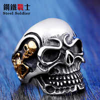 Steel soldier Drop Ship 2015 Fashion Ring Stainless Steel Rings For Man Big Tripple Skull Ring Punk Biker Jewelry