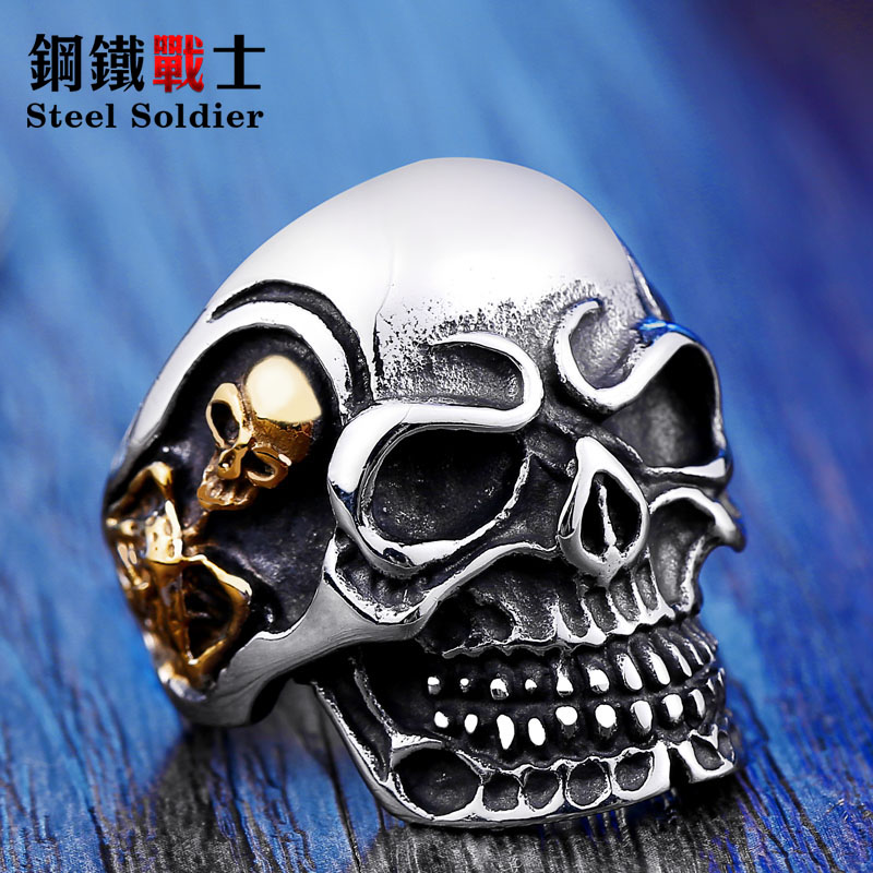 Stål soldat Drop Ship 2015 Fashion Ring Stainless Steel Rings For Man Big Triple Skull Ring Punk Biker Smykker