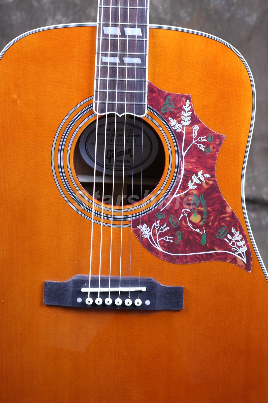 Starshine 6 cordes guitare acoustique ZZ-HMY Fishman 101 EQ, haut rigide, écrou d'os et selles ronflant oiseau Pickguard Grover Tuner - 6
