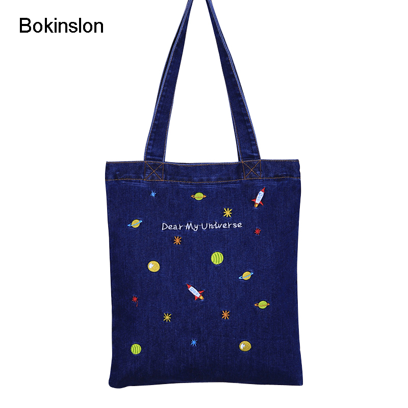 Bokinslon Embroidery Handbags For Woman Denim Canvas Fashion Women Shoulder Bags Casual Small Fresh Ladies Crossbody Bags new woman shoulder bags cute canvas women big bags literature and art cartoon girls small fresh bags casual tote