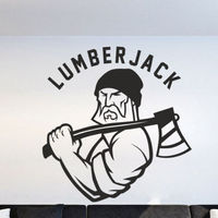 Wall Decal Sticker lumberjack man wood saw wood work nature production