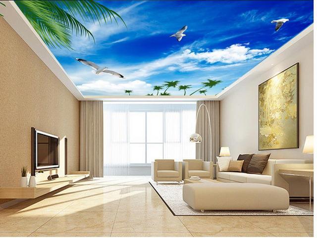 Langit biru desain ceiling seagull 3d mural wallpaper untuk ruang