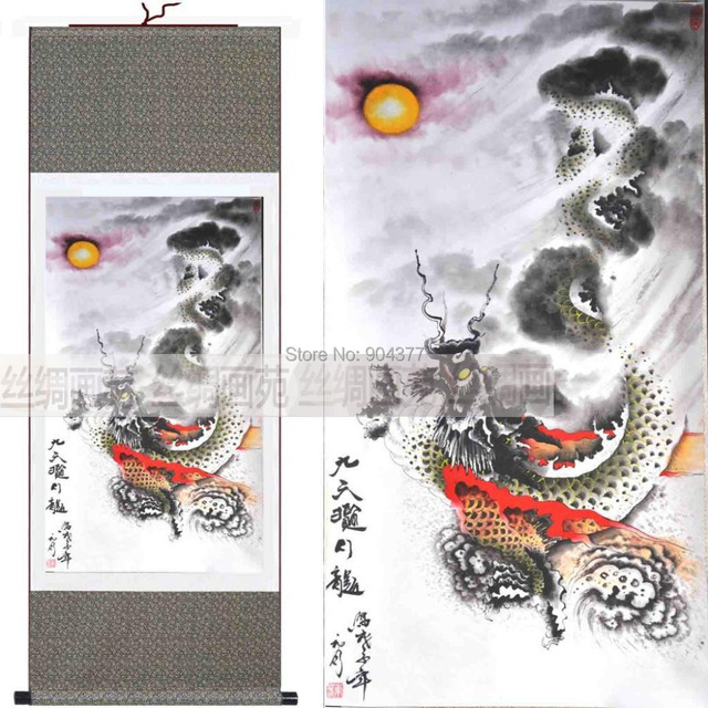 unique silk hanging scroll art chinese dragon painting size l 40 x