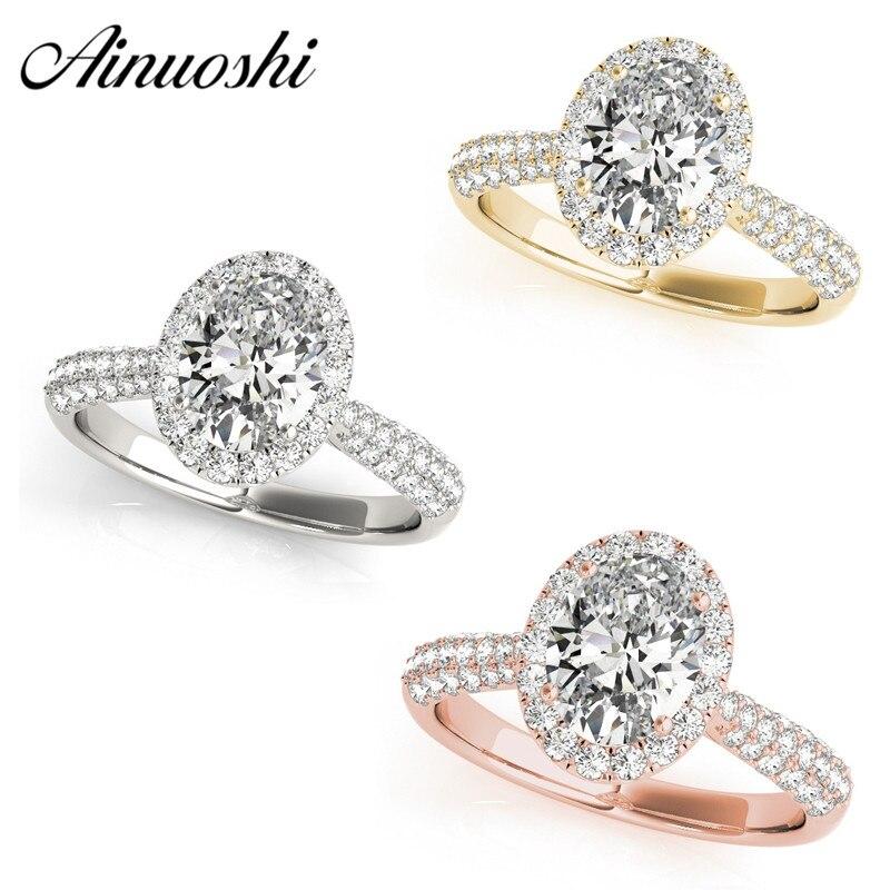 AINUOSHI 925 argent Sterling 1ct ovale coupe Halo anneaux femmes de fiançailles de mariage Annversary argent anneaux cadeau de fête anillo de mujer