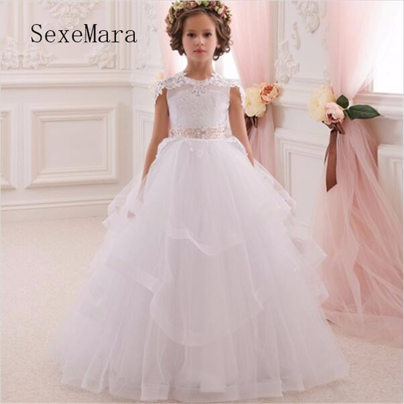 Well-Designed First Communion Gowns With Pink Belt White Lace Flower Girl Dress For Wedding Simple But Useful  Beautiful Vestido