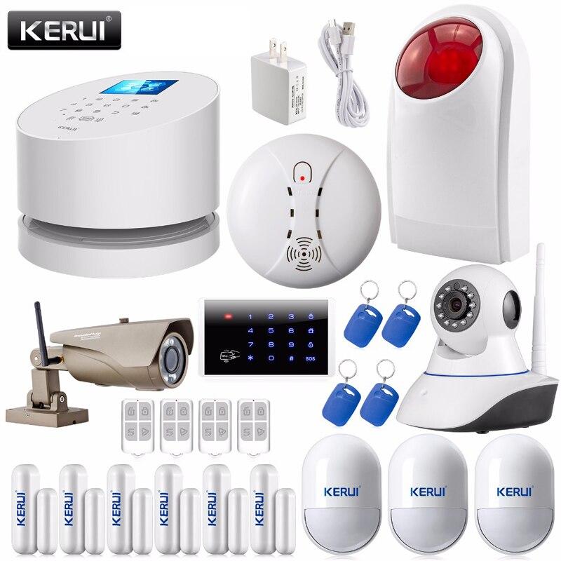 bilder für KERUI APP 2,4G Wifi GSM PSTN linie telefon hause alarmsystem verknüpfung WIFI indoor/outdoor ip-kamera rauch + 4 RFID alarm