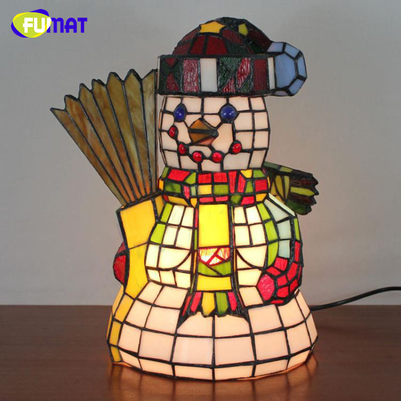 FUMAT Tifffany Lamps Snowman Stained Glass Lights 1