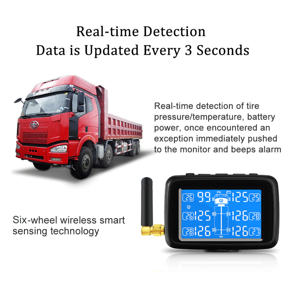 Image 3 - CAREUD U901 Auto Truck TPMS Car Wireless Tire Pressure Monitoring System with 6 External Sensors Replaceable Battery LCD Display-in Tire Pressure Alarm from Automobiles & Motorcycles