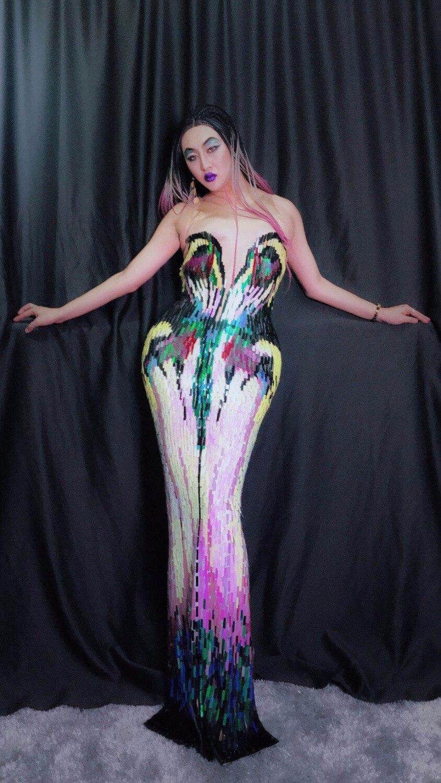 Sexy De D'anniversaire Nouveau Robes Coloré Célébrer Discothèque Pic Stretch Bling Dress Femmes Color Costume Manches Chanteuse Robe Paillettes Sans Longues 67wAq6v