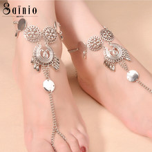 Sainio Women Bohemian Flower Boho Chic Chain Anklets Indian Jewelry Beach Foot Jewelry Barefoot Sandals Ankle Boots(China)