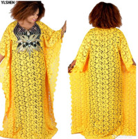 Super Size New Style African Dresses For Women Dashiki Fashion Water soluble Lace Loose Skirt with Beaded Embroidery Long Dress