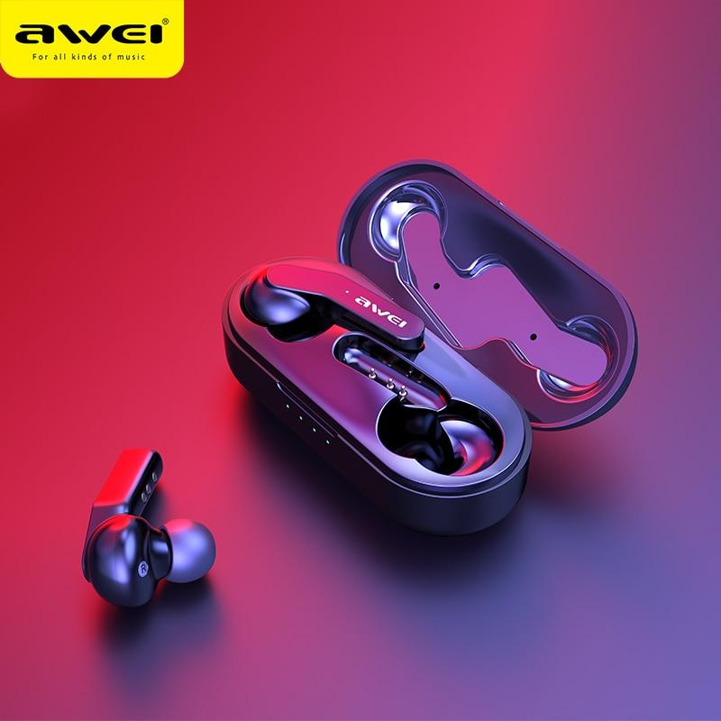 AWEI T10C TWS 5.0 Controle de Toque À Prova D' Água Mini Bluetooth fone de Ouvido Fone de Ouvido Fones De Ouvido Estéreo de Alta Fidelidade de Som Sem Fio de Carregamento Para O Telefone