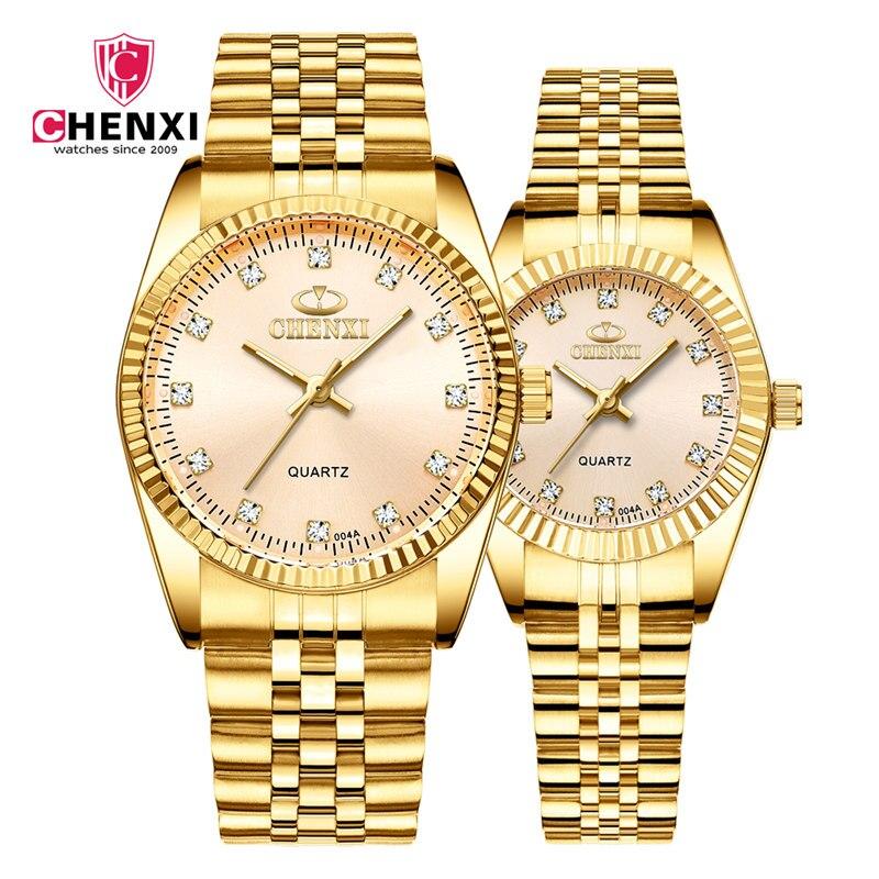 Golden Lovers Wrist Watch CHENXI Top Brand Luxury Watches Set Waterproof Watch Men Rhinestone Watch Women Clock Couple Relogio