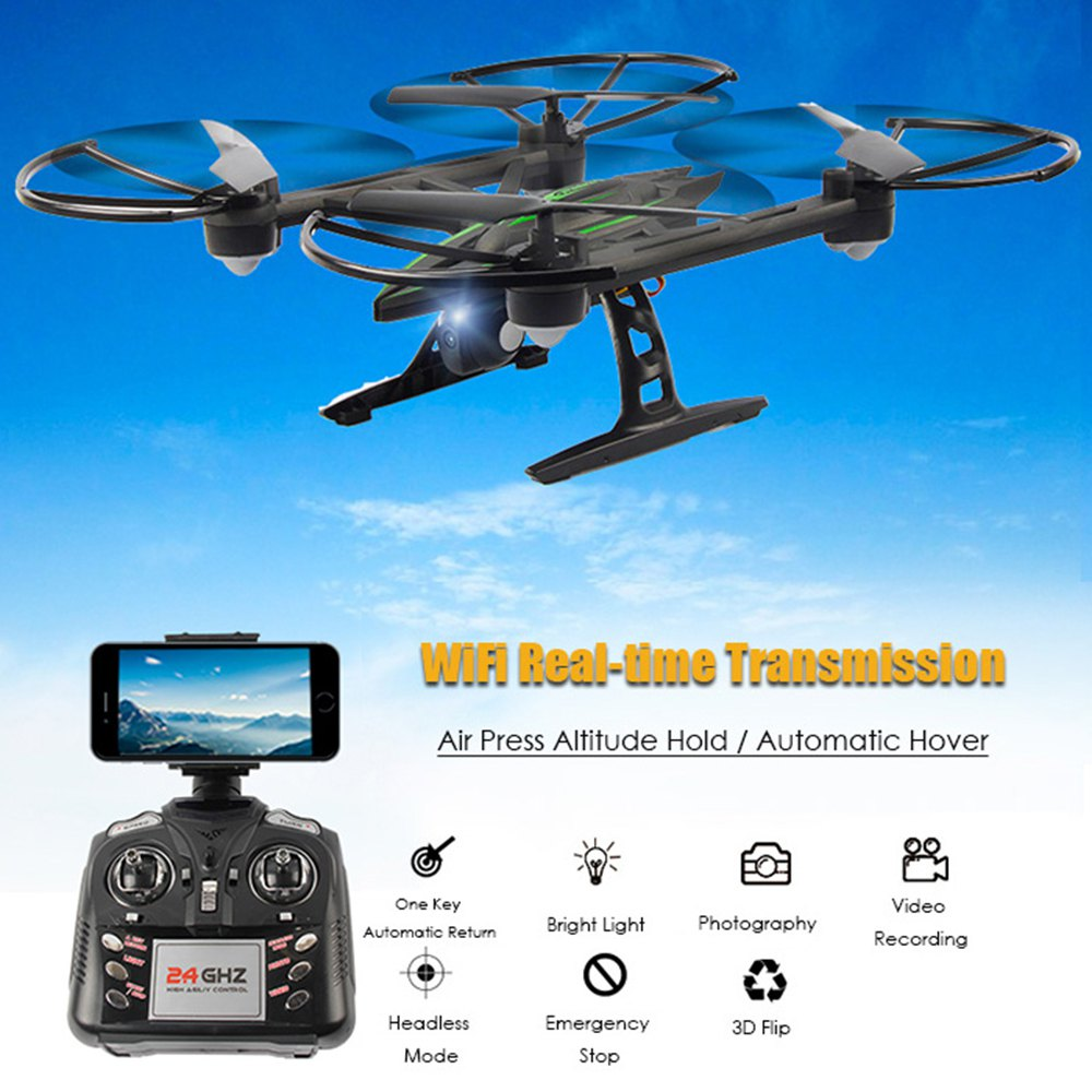 Original JXD 510W RC Quadcopters WIFI FPV 0.3MP Camera 2.4GHz 4CH 6 Axis Gyro RC Quad Copter Air Press Altitude Hold Drone Dron jxd 510g 5 8g rc quadcopters fpv 2 0mp camera 2 4ghz 4ch 6 axis gyro rc quadcopter barometer set height rc drones
