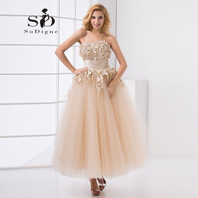 4444f41b53377 Akşam Elbise 2019 SoDigne Dantel Aplike Straplez Çiçek Boncuklu Kapalı Omuz  Sıcak Satış Bir Çizgi Kız Elbise Için Parti