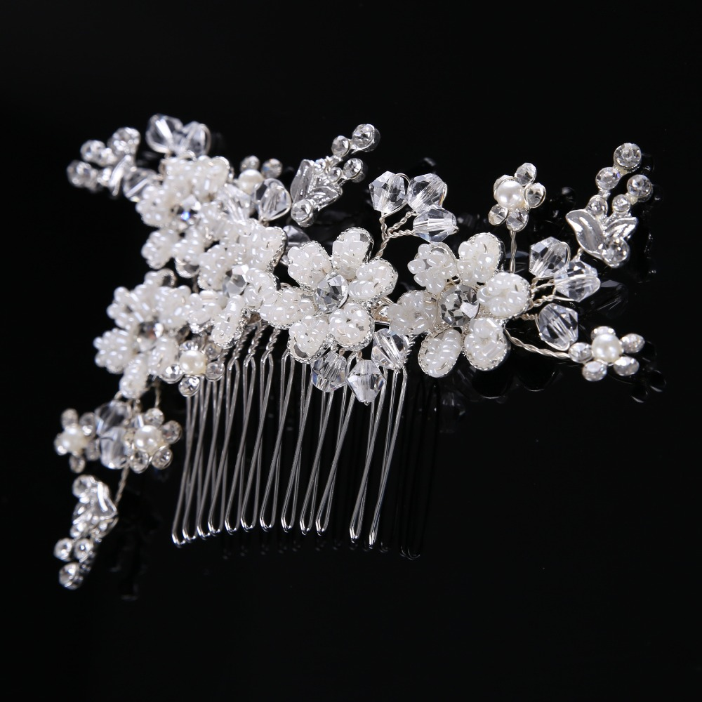 luxury heavy handmade pearl flower hair combs crystal hair jewelry