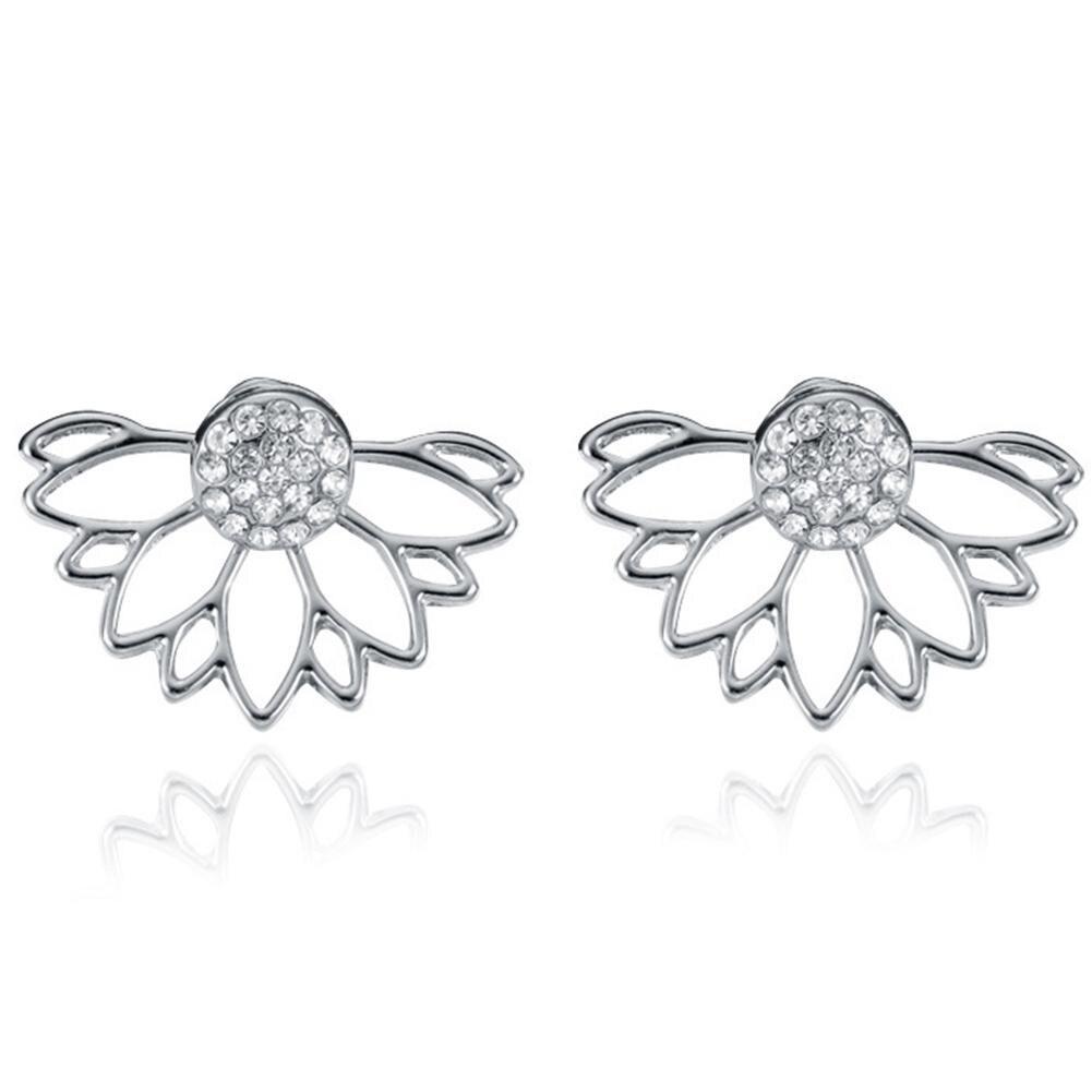 Shiny Rhinestone Hollow Half Sunflower Ear Jacket Double Sided Stud Earrings  Women Party Earrings Jewelry Gift