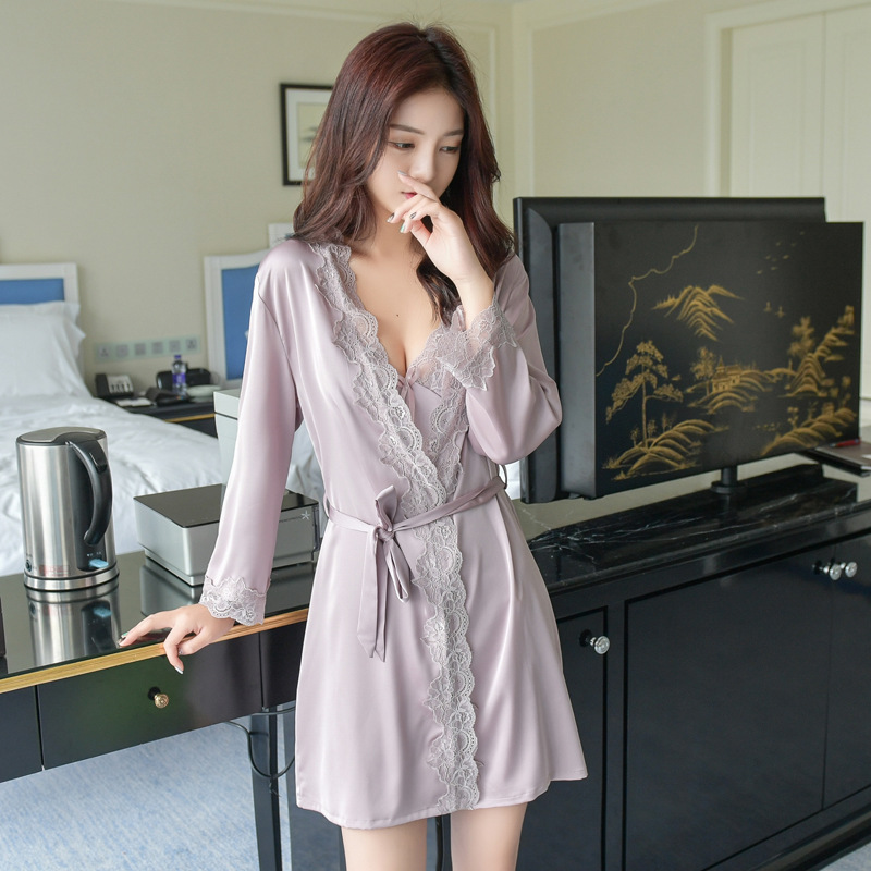Summer Women Silk Nightdress 2pcs/set of bath Robe & Nightgown Lady Twinset Nightwear Female Pijamas Sexy Lingerie Drop Shipping