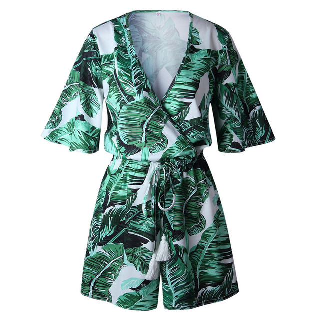 Free Ostrich Sexy Rompers Women Jumpsuit Playsuit Summer Leaves Printing Short Sleeve V Neck Short Overalls Female Clothes D1235 2