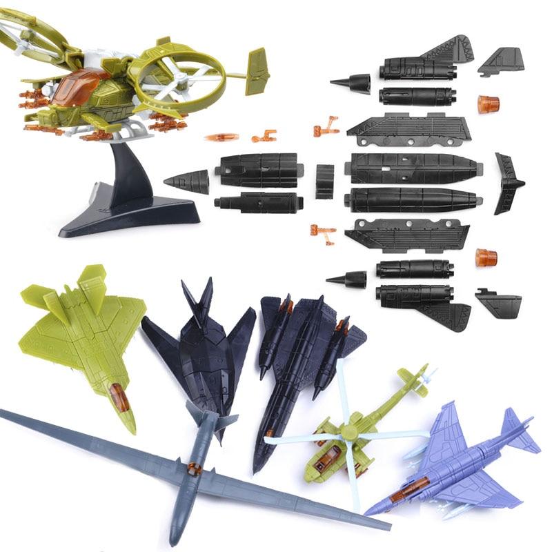 5Pcs No-repeat Mini Assemble Aircraft Building Blocks Toy For Children Fighter F-35 Military Model Kits Educational Toys Random