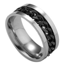 8mm black stainless steel rotating chain ring spinning punk style mens jewelry personality
