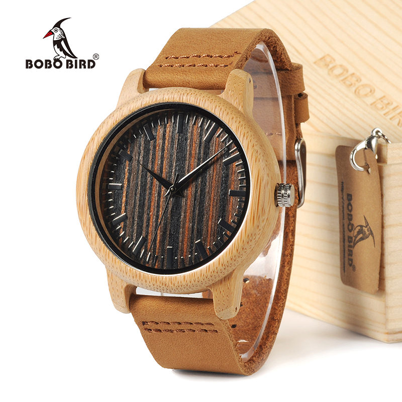 BOBO BIRD 2016 Men s White Maple Wood Watches With Genuine Leather Band Luxury Wood Watches
