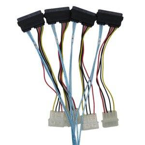 Image 5 - sas sata cables for HDD server Display card MINI SAS 4i SFF 8087 36Pin To 4 SAS 29Pin Sff 8482 +4pin power cable 1m